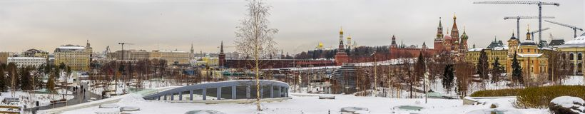 Panoramic winter Moscow town and Kremlin by Zaryadye Park. royalty free stock photography
