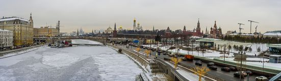 Panoramic winter Moscow town and Kremlin by Zaryadye Park. stock images