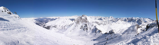 Panoramic winter mountains Stock Photo