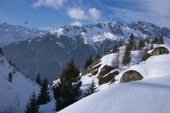 Panoramic winter mountains Royalty Free Stock Photo