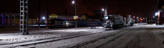 Panoramic winter view on railway station royalty free stock image