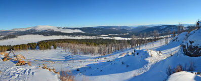 Panoramic winter view of the snow-covered slopes of the Altai mountains, Siberia, Russia Royalty Free Stock Photography