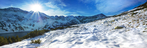 Panoramic winter view of the tatra mountain Royalty Free Stock Photos