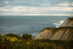 Panoramic wonderful cliffs of atlantic coast with waves Royalty Free Stock Photos