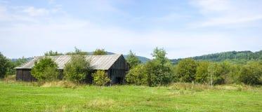 Panoramic wooden abandoned farm. In Ukrainian village Berezov Royalty Free Stock Image