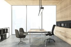 Panoramic wooden wall CEO office Stock Photography