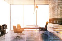 Panoramic wooden wall CEO office toned Royalty Free Stock Image