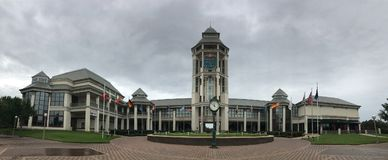 Panoramic of the World Golf Hall of Fame. A panoramic view of the World Golf Hall of Fame in St. Augustine, Florida Royalty Free Stock Image