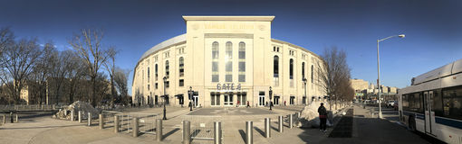 Panoramic of Yankee Stadium in the Bronx. BRONX, NEW YORK - MARCH 21: Panoramic of Yankee Stadium. Taken March 21, 2017 in New York royalty free stock images