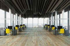 Panoramic Yellow Chair Open Space Office Royalty Free Stock Image