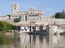 Panoramic Zamora. With the Romanesque cathedral and the river Duero, Spain Stock Image