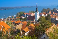 Panoramic of Zemun, with church tower in Belgrade. Panoramic view of Zemun, with church tower in Belgrade, Republic of Serbia Royalty Free Stock Photo