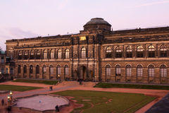 Panoramic on Zwinger Palace - royal palace since 17th century in Dresden. Royalty Free Stock Photo