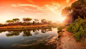 Panoramica al tramonto di un allungamento dello stagno di Petrosu, Orosei sardinia fotografia stock libera da diritti
