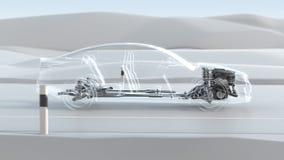 Panoramica astratta della struttura dell'automobile della città durante l'azionamento Illustrazione di progettazione 3d di opacit Fotografie Stock