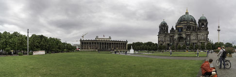 Panoramica of the Berlin Cathedral. Panoramic view of Berlin Cathedral on a cloudy August day stock photography