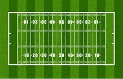 Panoramica del campo di football americano Fotografie Stock Libere da Diritti