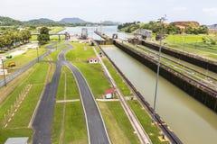 Panoramica del canale di Panama a Miraflores Immagini Stock