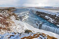 Panoramica della cascata di Gullfoss immagini stock libere da diritti
