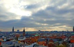 Panoramica della città di Copenhaghen da sopra fotografie stock