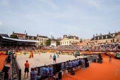 Panoramica della coppa del Mondo 2015 di beach volley di stadion di L'aia Fotografia Stock Libera da Diritti