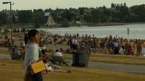 Panoramica della spiaggia video d archivio