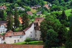 panoramica della Uccello-mosca al piccolo villaggio nell'Alsazia Fotografia Stock