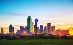 Panoramica di Dallas del centro Fotografia Stock Libera da Diritti