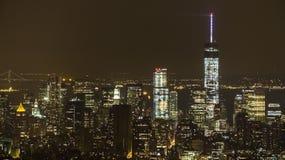 Panoramica di Manhattan alla notte dall'Empire State Building Fotografia Stock Libera da Diritti