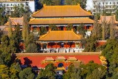 Panoramica di Pechino Cina della torre del tamburo del parco di Jingshan fotografie stock