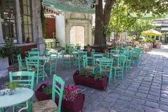 Panoramica di prospettiva della costruzione cristiana della muratura dell'abbazia in Lemonas a Lesvos fotografia stock