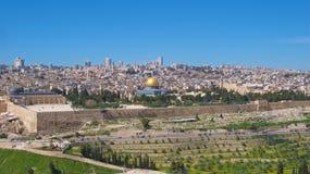 Panoramica di Temple Mount in vecchia città di Gerusalemme, Israele Fotografia Stock