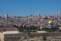 Panoramica di Temple Mount in vecchia città di Gerusalemme, Israele Fotografia Stock Libera da Diritti