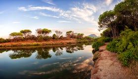Panoramica di un allungamento dello stagno di Petrosu, Orosei sardinia immagine stock libera da diritti