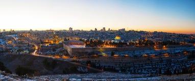 Panoramica di vecchia città a Gerusalemme, Israele Fotografia Stock
