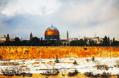 Panoramica di vecchia città a Gerusalemme, Israele Immagine Stock