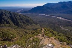 Panoramico dalla cima del vulcano nella Patagonia, Cile di Chaiten d immagini stock