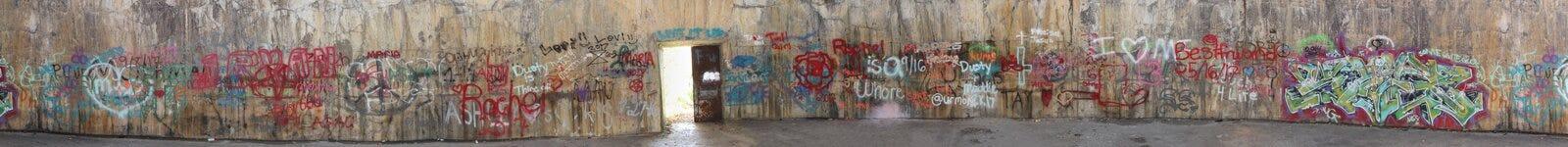 Panoramico dei graffiti sul muro di cemento Fotografia Stock Libera da Diritti
