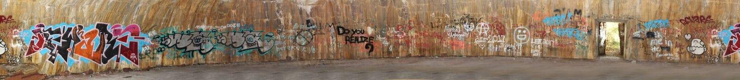 Panoramico dei graffiti sul muro di cemento Fotografie Stock Libere da Diritti