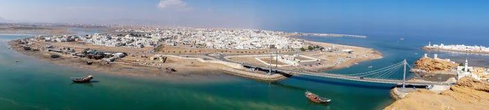 Panoramico del porto di Sur - Oman fotografie stock libere da diritti