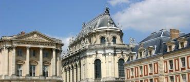 Panoramico della parte anteriore del palazzo di Versailles Fotografia Stock Libera da Diritti