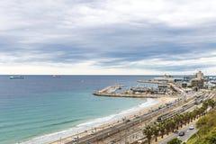 Panoramico di porto di Tarragona, Spagna Immagini Stock Libere da Diritti