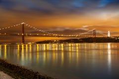 Panoramico di un ponte di 25 de Abril Fotografie Stock Libere da Diritti