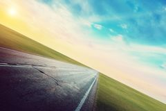 Panoramiczna drogowa wsch?d s?o?ca lata podr?? zdjęcia stock