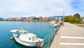 Panoramiczna fotografia Navarinou ulica przy Kalamata Peloponnese Grecja Obrazy Stock