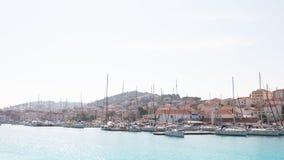 Panoramiczna fotografia stara grodzka Trogir i Ciovo wyspa z schronieniem katya lata terytorium krasnodar wakacje obraz royalty free