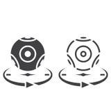 Panoramiczna kamera wideo linii ikona, kontur i bryła wektoru znak, ilustracji