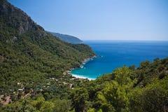 panoramiczna piękna kabak zatoka na morzu egejskim na tureckiej linii brzegowej, kabak, indyk Fotografia Royalty Free