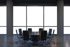 Panoramiczna sala konferencyjna w nowożytnym biurze, kopia astronautyczny widok od okno Czerni krzesła i czarny round stół ilustracji