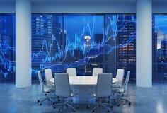 Panoramiczna sala konferencyjna w nowożytnym biurze, pejzaż miejski Nowy Jork drapacze chmur przy nocą, Manhattan ilustracja wektor